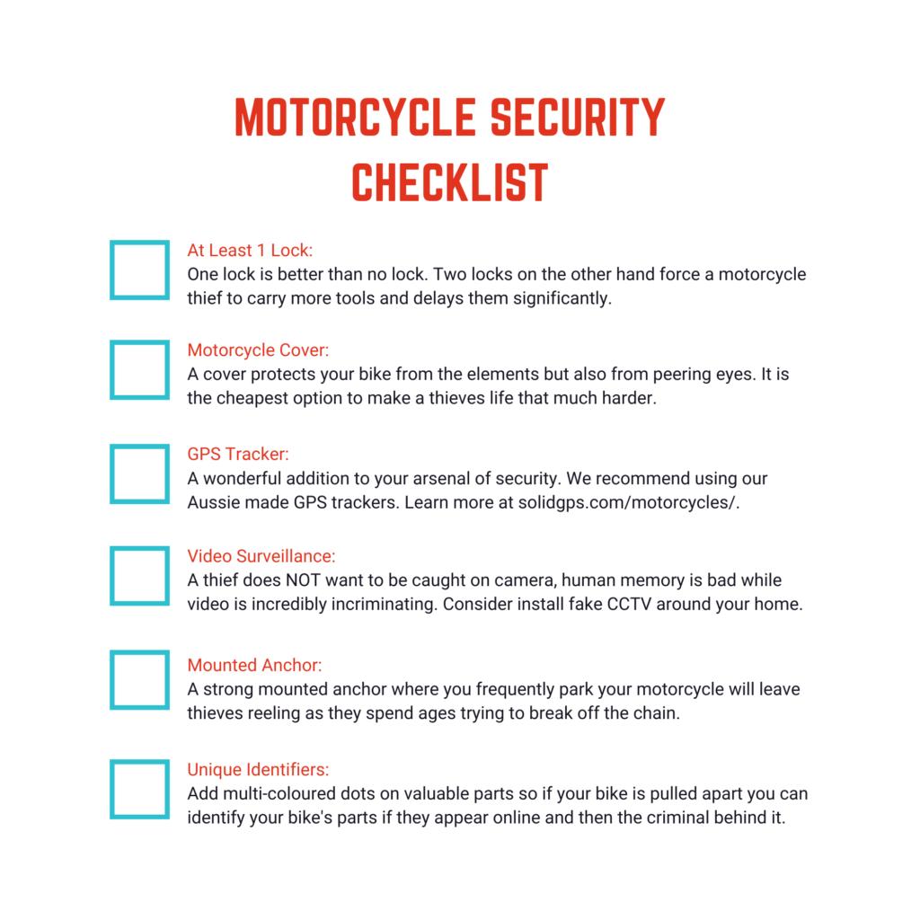 Motorcycle security checklist