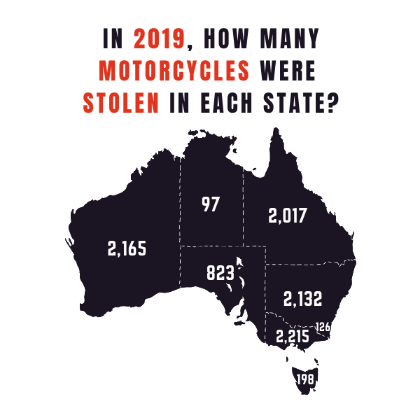 Map of Australia Motorcycle Thefts